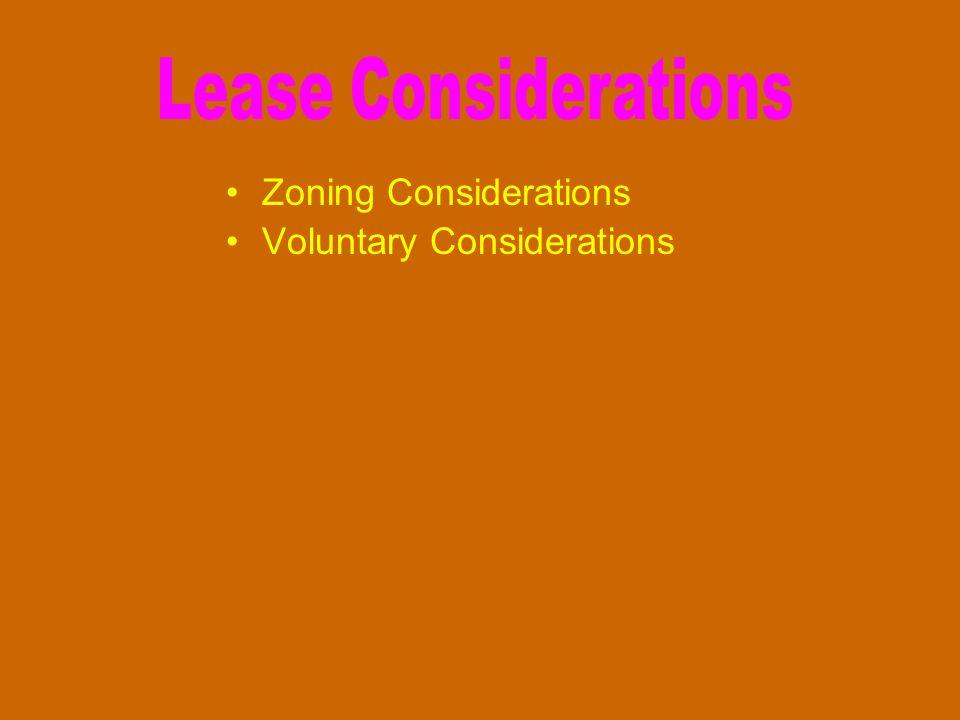 Zoning Considerations Voluntary Considerations