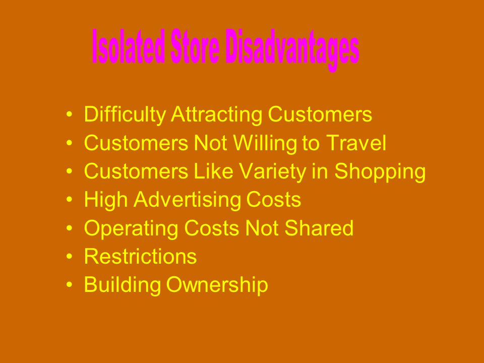 Difficulty Attracting Customers Customers Not Willing to Travel Customers Like Variety in Shopping High Advertising Costs Operating Costs Not Shared R