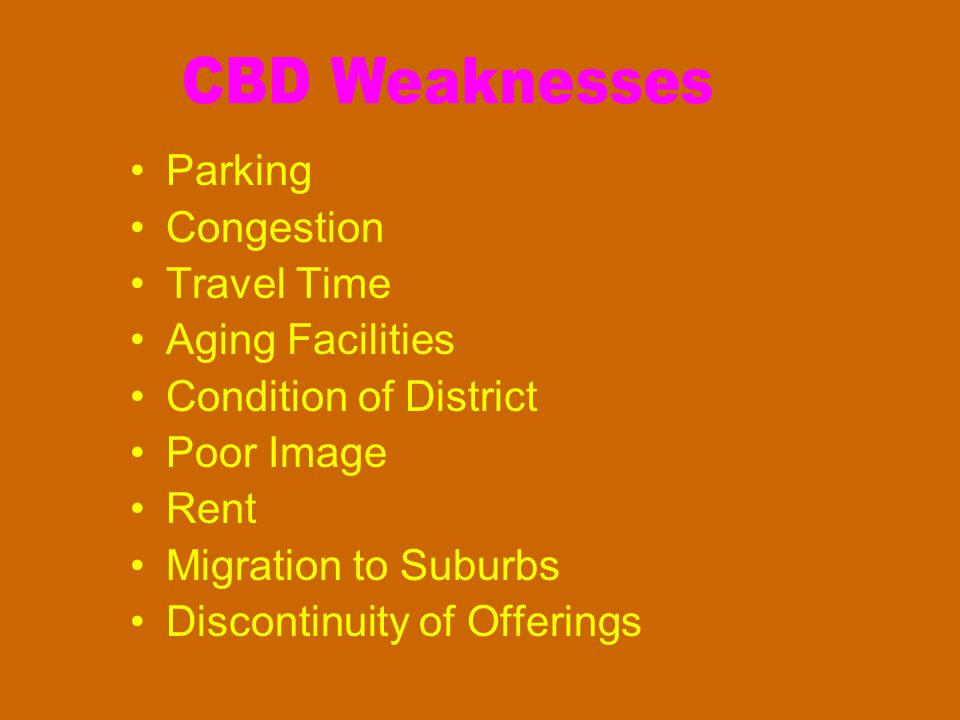 Parking Congestion Travel Time Aging Facilities Condition of District Poor Image Rent Migration to Suburbs Discontinuity of Offerings