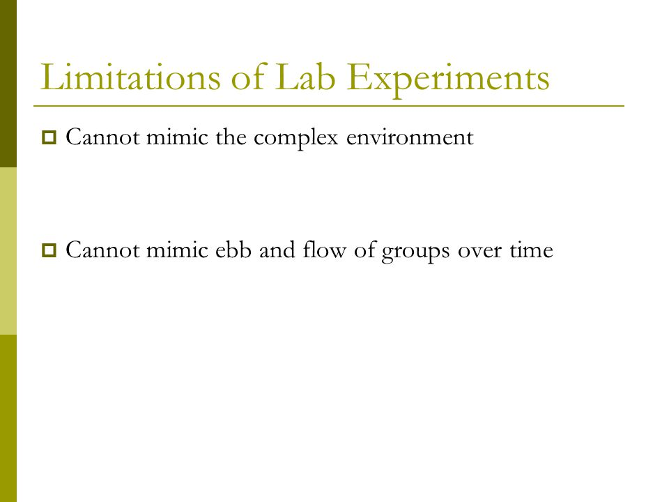 Limitations of Lab Experiments  Cannot mimic the complex environment  Cannot mimic ebb and flow of groups over time