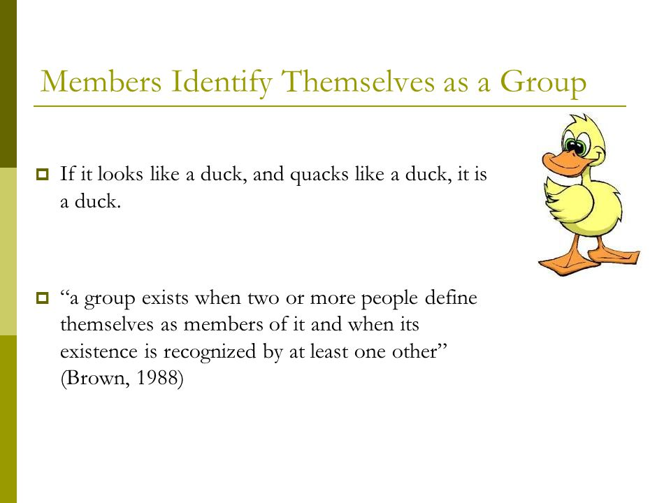 Members Identify Themselves as a Group  If it looks like a duck, and quacks like a duck, it is a duck.