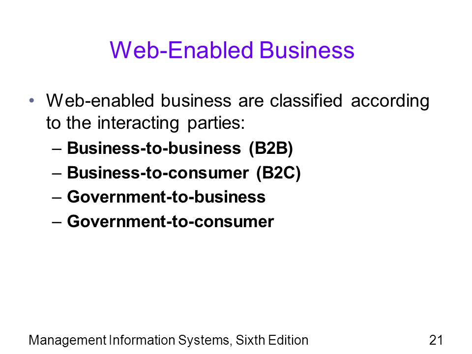 Management Information Systems, Sixth Edition21 Web-Enabled Business Web-enabled business are classified according to the interacting parties: –Business-to-business (B2B) –Business-to-consumer (B2C) –Government-to-business –Government-to-consumer