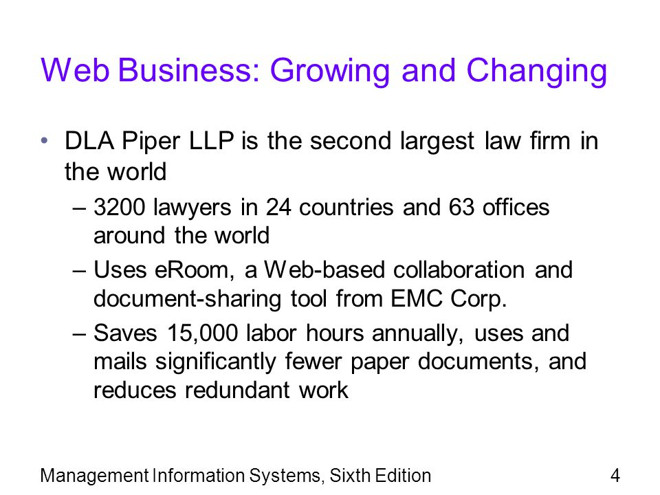 Management Information Systems, Sixth Edition4 Web Business: Growing and Changing DLA Piper LLP is the second largest law firm in the world –3200 lawyers in 24 countries and 63 offices around the world –Uses eRoom, a Web-based collaboration and document-sharing tool from EMC Corp.
