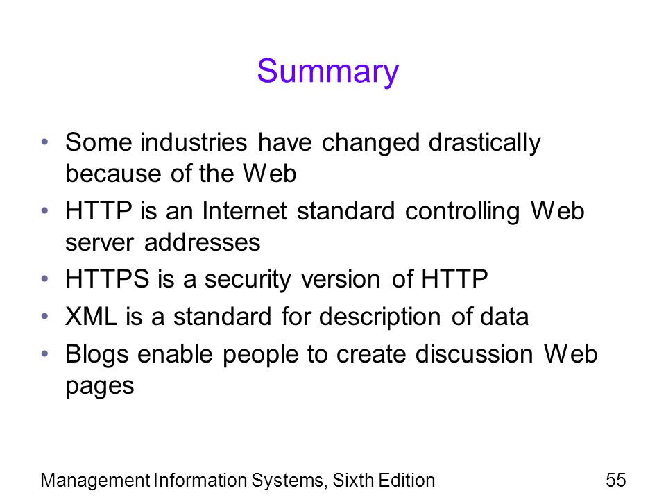 Management Information Systems, Sixth Edition55 Summary Some industries have changed drastically because of the Web HTTP is an Internet standard controlling Web server addresses HTTPS is a security version of HTTP XML is a standard for description of data Blogs enable people to create discussion Web pages