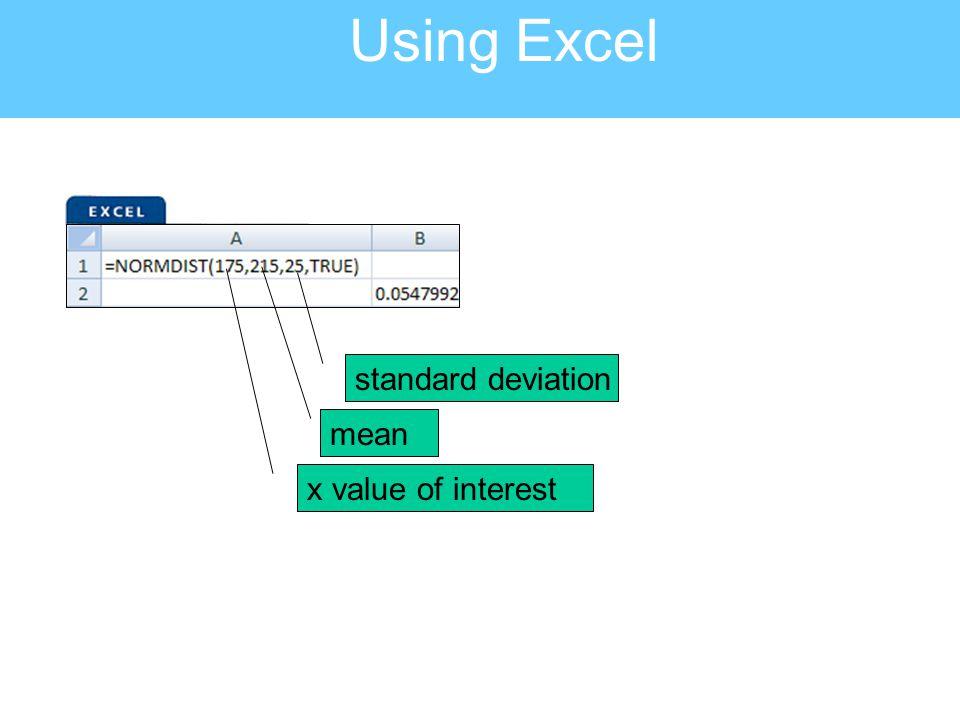 Using Excel x value of interest mean standard deviation