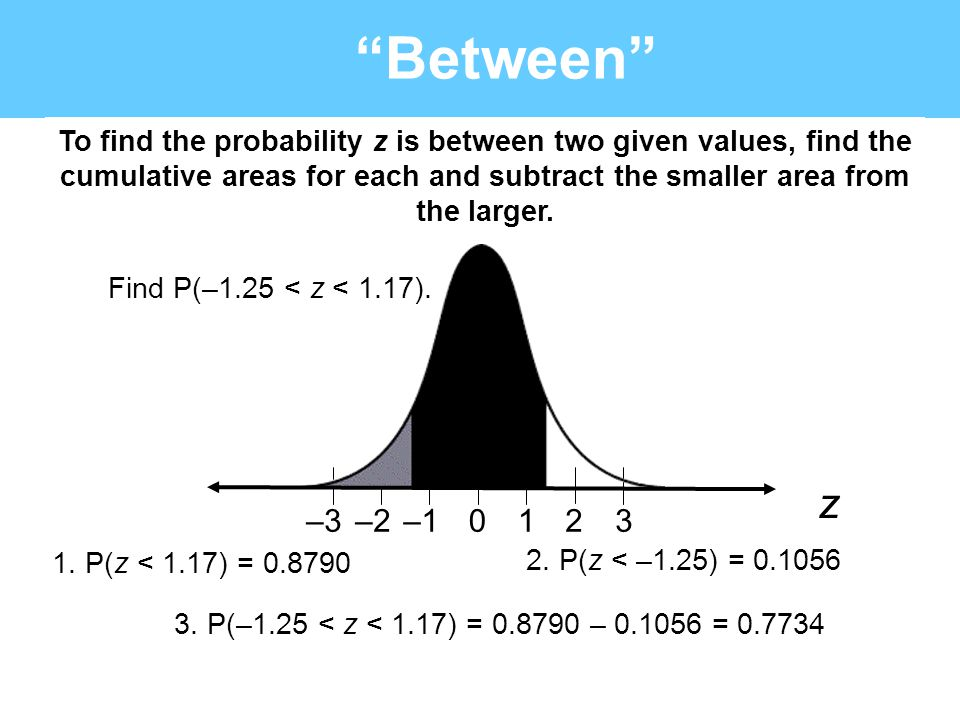 """""""Between"""" To find the probability z is between two given values, find the cumulative areas for each and subtract the smaller area from the larger. Fin"""