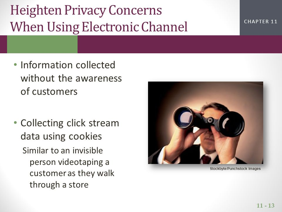 11 - 13 CHAPTER 2CHAPTER 1 CHAPTER 11 Information collected without the awareness of customers Collecting click stream data using cookies Similar to an invisible person videotaping a customer as they walk through a store Heighten Privacy Concerns When Using Electronic Channel Stockbyte/Punchstock Images
