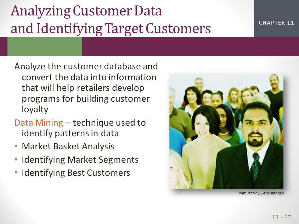 11 - 17 CHAPTER 2CHAPTER 1 CHAPTER 11 Analyze the customer database and convert the data into information that will help retailers develop programs fo
