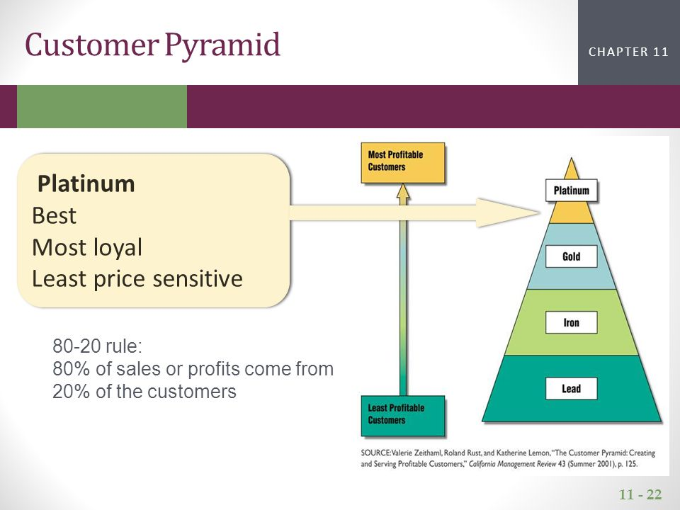 11 - 22 CHAPTER 2CHAPTER 1 CHAPTER 11 Customer Pyramid Platinum Best Most loyal Least price sensitive 80-20 rule: 80% of sales or profits come from 20