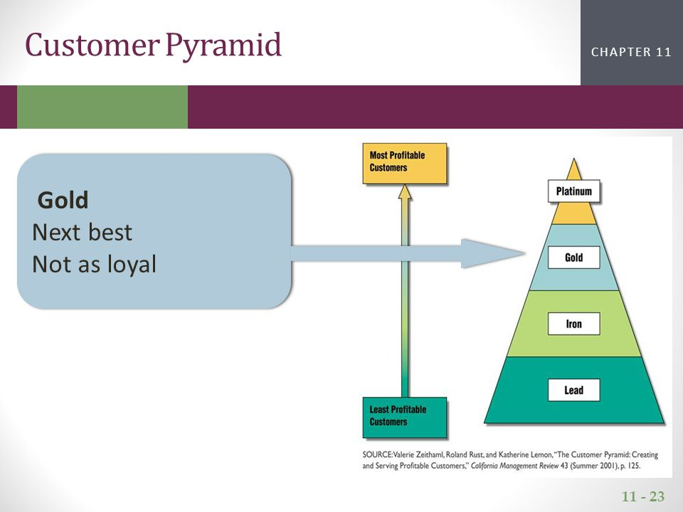 11 - 23 CHAPTER 2CHAPTER 1 CHAPTER 11 Customer Pyramid Gold Next best Not as loyal