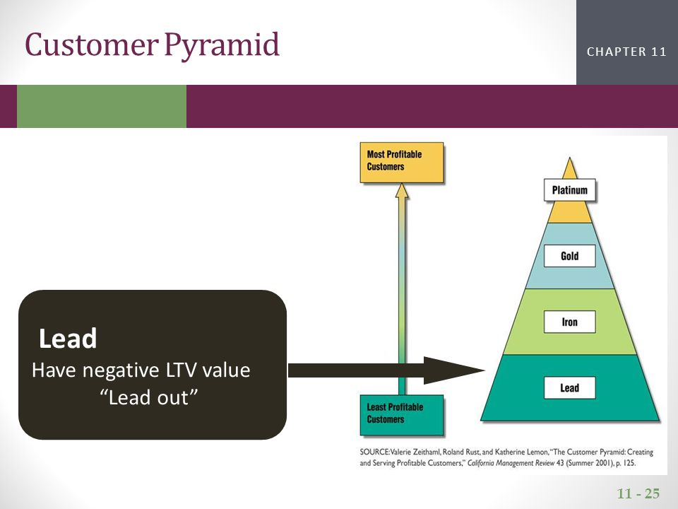 11 - 25 CHAPTER 2CHAPTER 1 CHAPTER 11 Customer Pyramid Lead Have negative LTV value Lead out