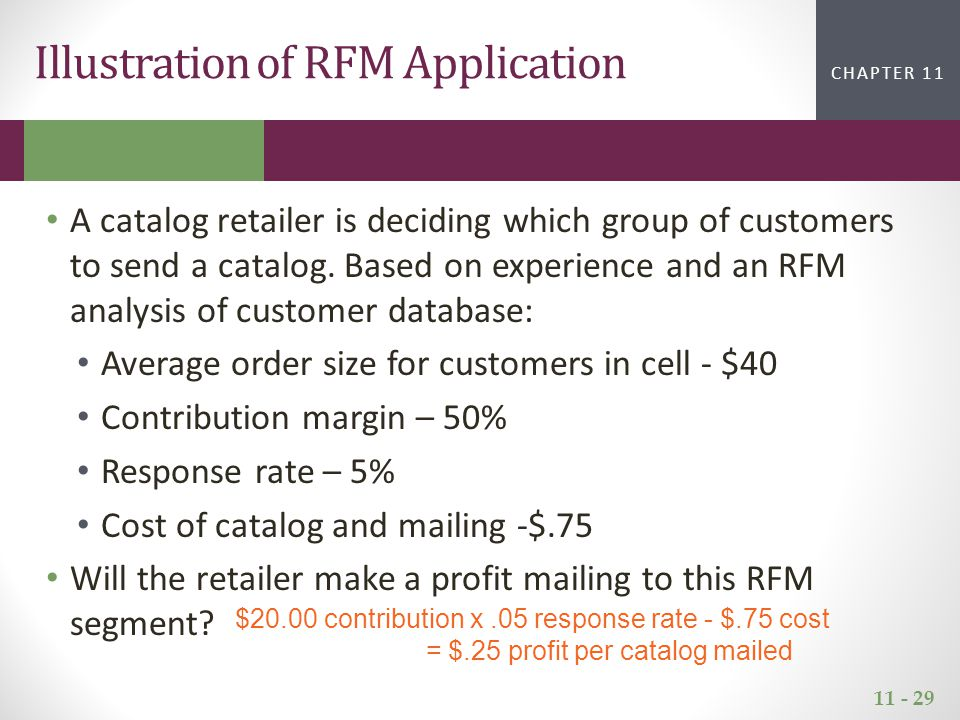 11 - 29 CHAPTER 2CHAPTER 1 CHAPTER 11 Illustration of RFM Application A catalog retailer is deciding which group of customers to send a catalog. Based