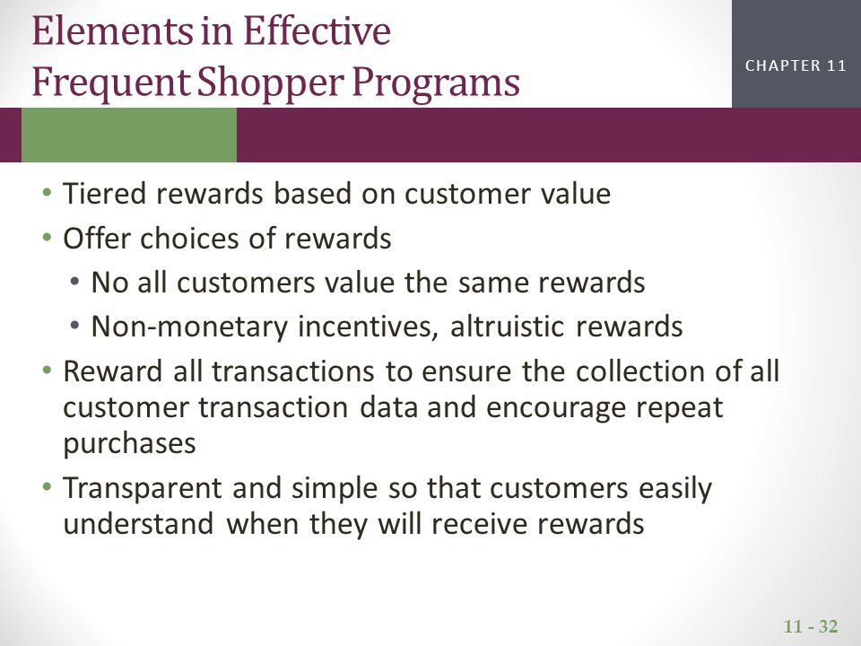 11 - 32 CHAPTER 2CHAPTER 1 CHAPTER 11 Elements in Effective Frequent Shopper Programs Tiered rewards based on customer value Offer choices of rewards No all customers value the same rewards Non-monetary incentives, altruistic rewards Reward all transactions to ensure the collection of all customer transaction data and encourage repeat purchases Transparent and simple so that customers easily understand when they will receive rewards