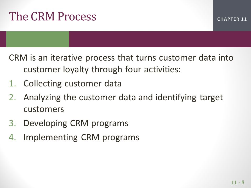 11 - 8 CHAPTER 2CHAPTER 1 CHAPTER 11 The CRM Process CRM is an iterative process that turns customer data into customer loyalty through four activities: 1.Collecting customer data 2.Analyzing the customer data and identifying target customers 3.Developing CRM programs 4.Implementing CRM programs