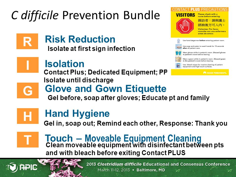 C difficile Prevention Bundle R Risk Reduction Isolation Glove and Gown Etiquette Hand Hygiene Touch – Moveable Equipment Cleaning I G H T Isolate at first sign infection Contact Plus; Dedicated Equipment; PPE supplies; Isolate until discharge Gel before, soap after gloves; Educate pt and family Clean moveable equipment with disinfectant between pts and with bleach before exiting Contact PLUS Gel in, soap out; Remind each other, Response: Thank you