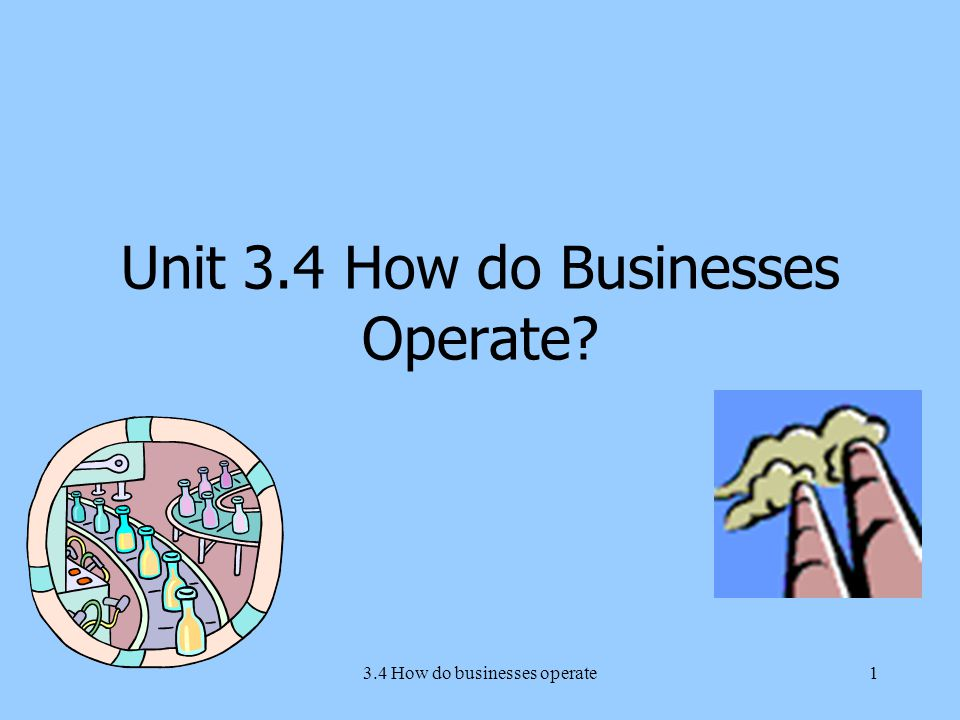 3.4 How do businesses operate1 Unit 3.4 How do Businesses Operate?