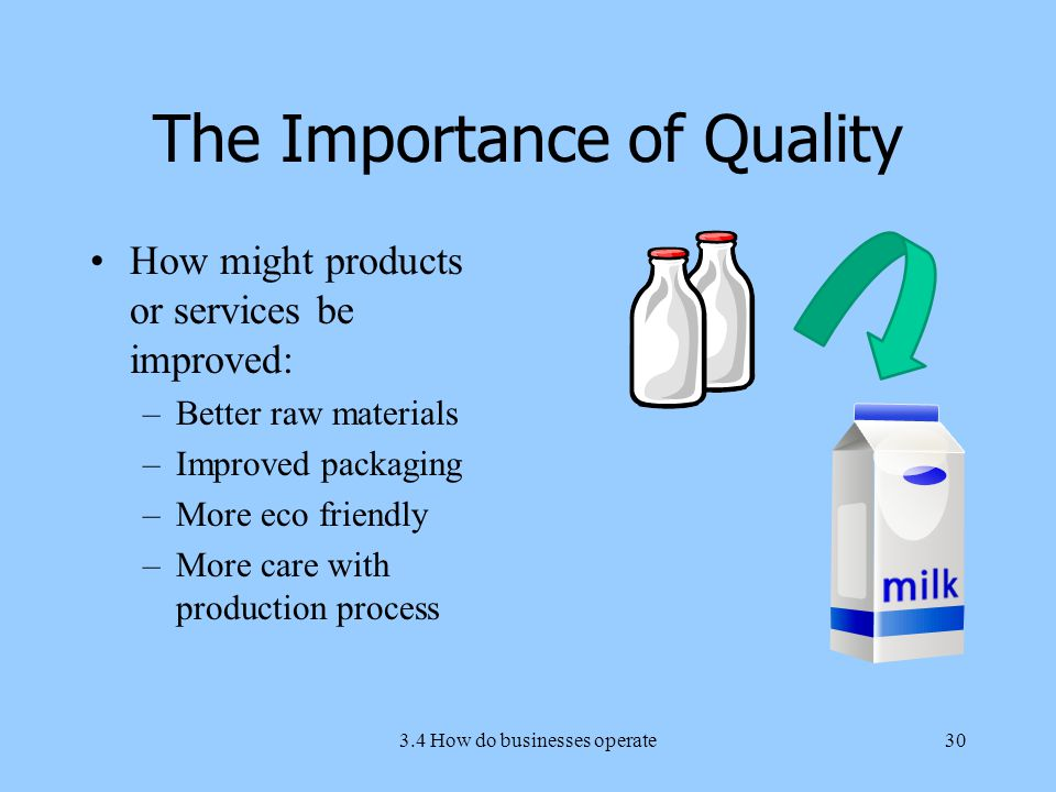 The Importance of Quality How might products or services be improved: –Better raw materials –Improved packaging –More eco friendly –More care with production process 3.4 How do businesses operate30
