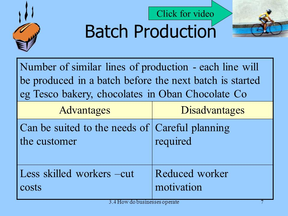3.4 How do businesses operate7 Batch Production Number of similar lines of production - each line will be produced in a batch before the next batch is started eg Tesco bakery, chocolates in Oban Chocolate Co AdvantagesDisadvantages Can be suited to the needs of the customer Careful planning required Less skilled workers –cut costs Reduced worker motivation Click for video