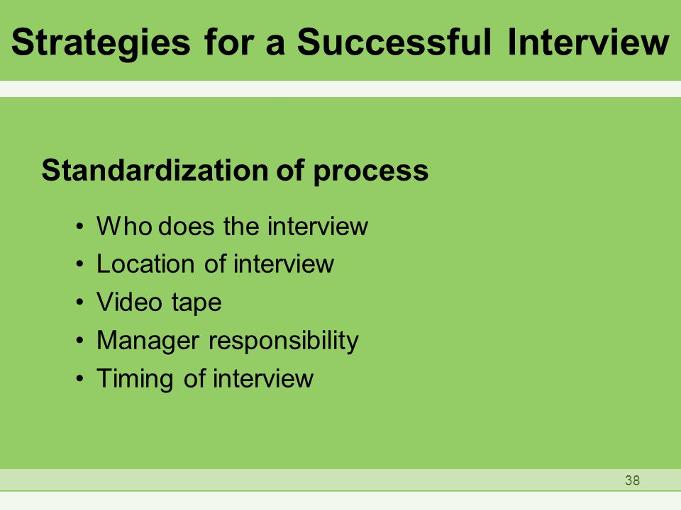 Strategies for a Successful Interview Standardization of process Who does the interview Location of interview Video tape Manager responsibility Timing of interview 38