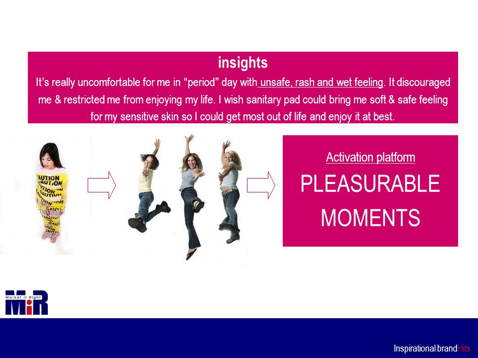 Inspirational brandHits Activation platform PLEASURABLE MOMENTS insights It ' s really uncomfortable for me in period day with unsafe, rash and wet feeling.