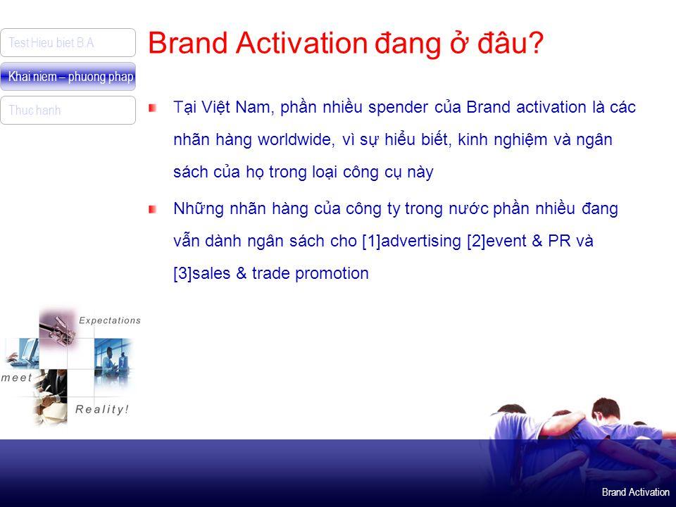 Brand Activation Test Hieu biet B.A Khai niem – phuong phap Thuc hanh Brand Activation đang ở đâu? Tại Việt Nam, phần nhiều spender của Brand activati