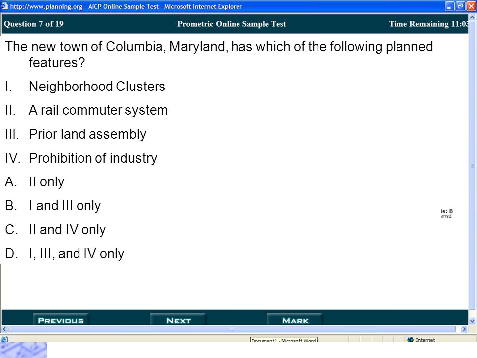 The new town of Columbia, Maryland, has which of the following planned features.