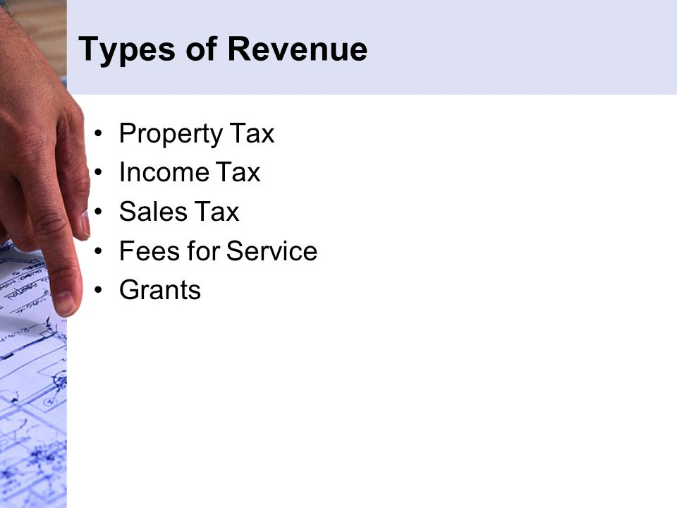 Types of Revenue Property Tax Income Tax Sales Tax Fees for Service Grants