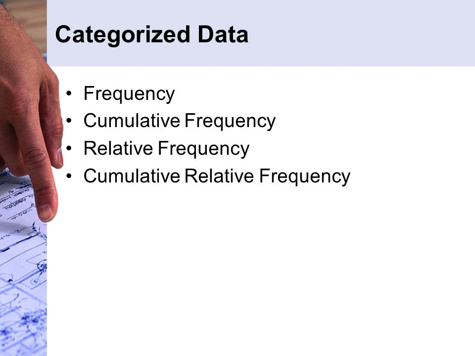 Categorized Data Frequency Cumulative Frequency Relative Frequency Cumulative Relative Frequency