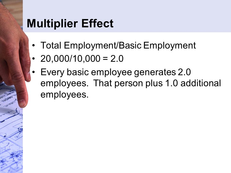 Multiplier Effect Total Employment/Basic Employment 20,000/10,000 = 2.0 Every basic employee generates 2.0 employees.