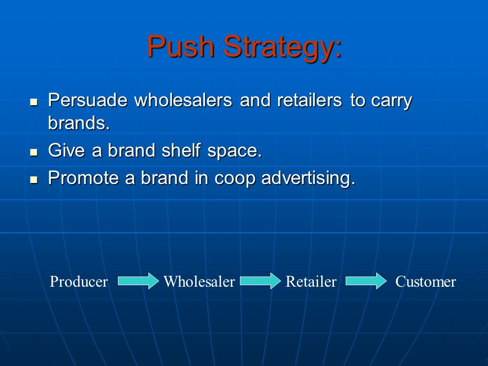 Push Strategy: Persuade wholesalers and retailers to carry brands.