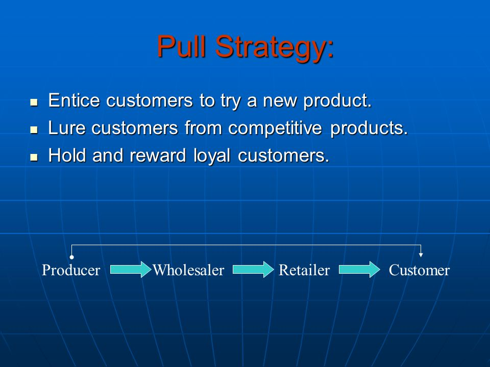 Pull Strategy: Entice customers to try a new product. Entice customers to try a new product. Lure customers from competitive products. Lure customers