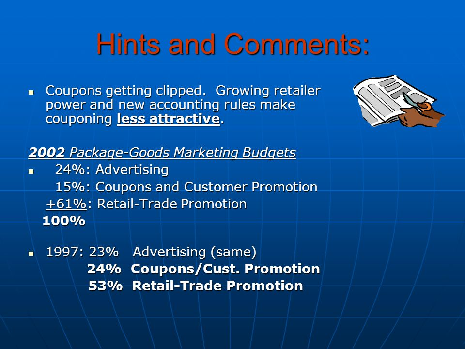 Hints and Comments: Coupons getting clipped. Growing retailer power and new accounting rules make couponing less attractive. Coupons getting clipped.
