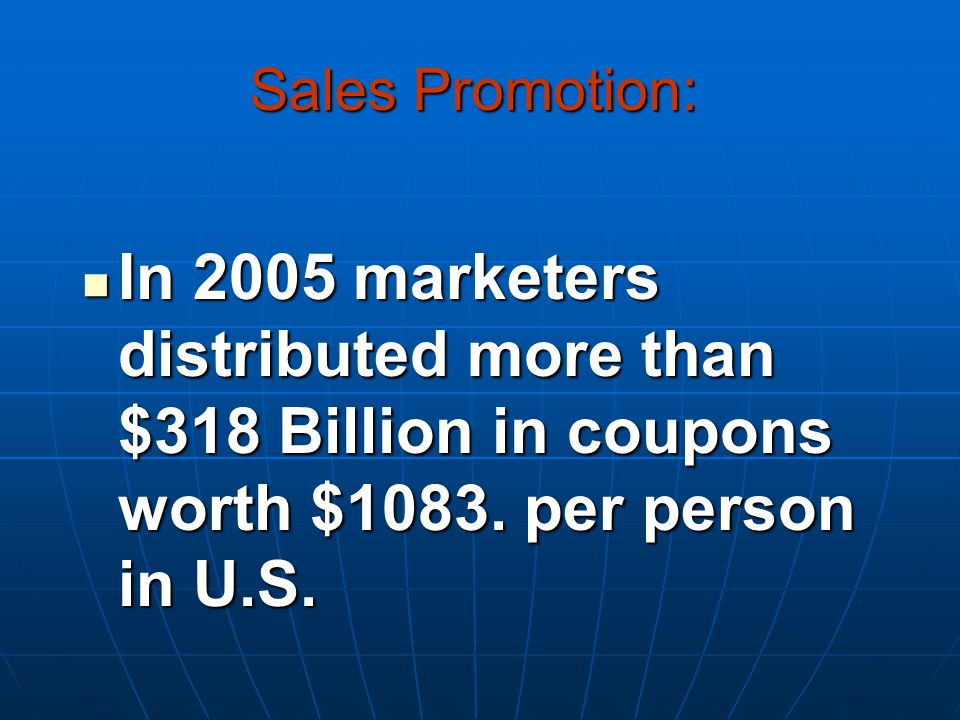 In 2005 marketers distributed more than $318 Billion in coupons worth $1083.