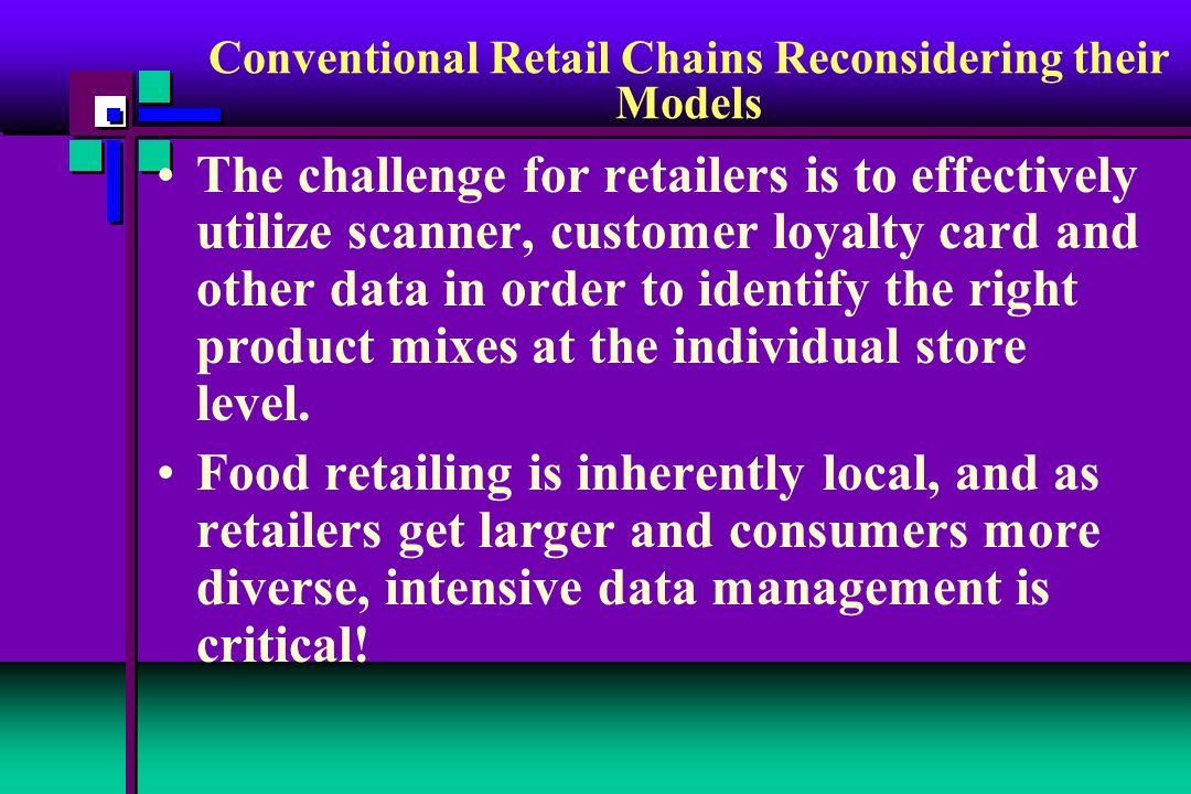 The challenge for retailers is to effectively utilize scanner, customer loyalty card and other data in order to identify the right product mixes at the individual store level.