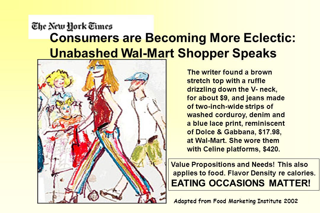 Consumers are Becoming More Eclectic: Unabashed Wal-Mart Shopper Speaks The writer found a brown stretch top with a ruffle drizzling down the V- neck, for about $9, and jeans made of two-inch-wide strips of washed corduroy, denim and a blue lace print, reminiscent of Dolce & Gabbana, $17.98, at Wal-Mart.
