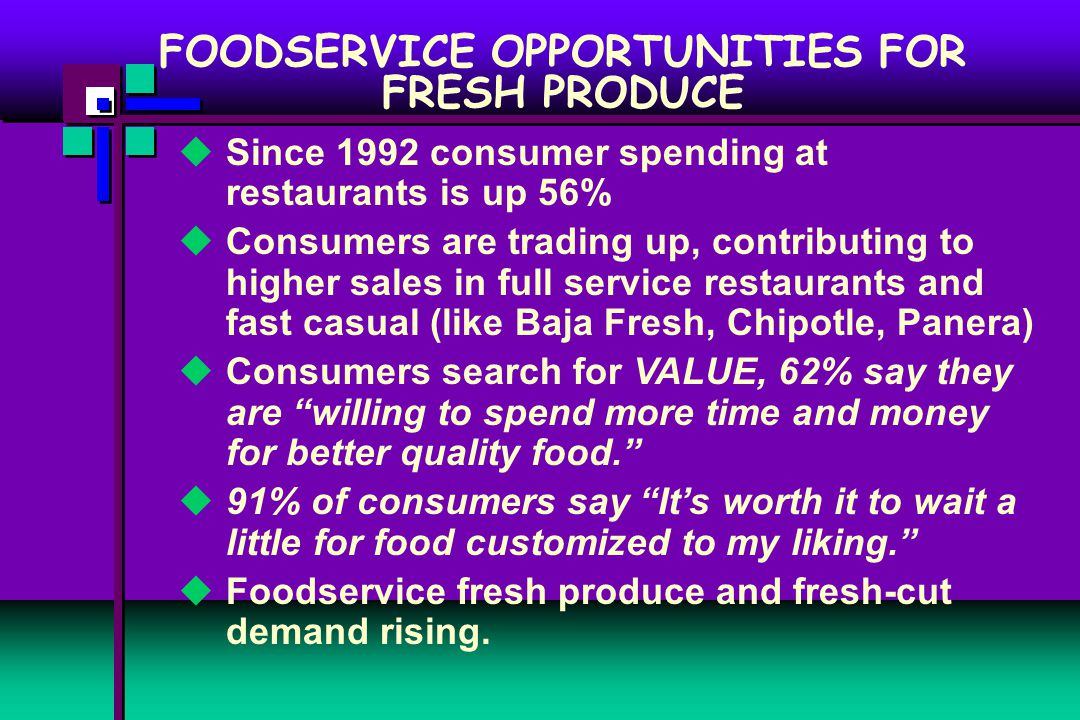  Since 1992 consumer spending at restaurants is up 56%  Consumers are trading up, contributing to higher sales in full service restaurants and fast casual (like Baja Fresh, Chipotle, Panera)  Consumers search for VALUE, 62% say they are willing to spend more time and money for better quality food.  91% of consumers say It's worth it to wait a little for food customized to my liking.  Foodservice fresh produce and fresh-cut demand rising.