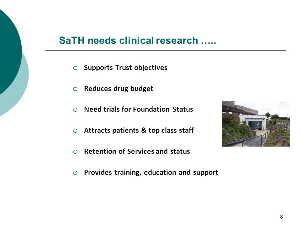 8 SaTH needs clinical research …..