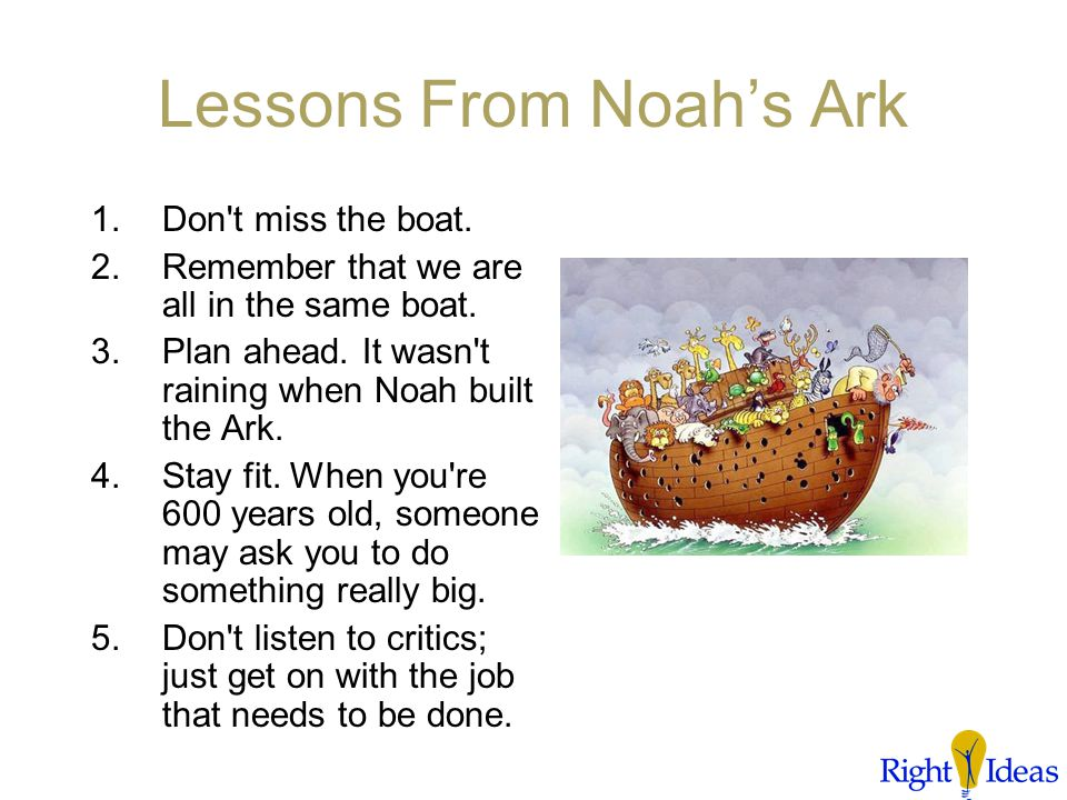 We're All Live Together The woodpeckers just have to go! Lessons we can learn from Noah's ark.