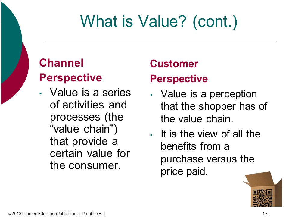 ©2013 Pearson Education Publishing as Prentice Hall 1-35 What is Value? (cont.) Channel Perspective Value is a series of activities and processes (the