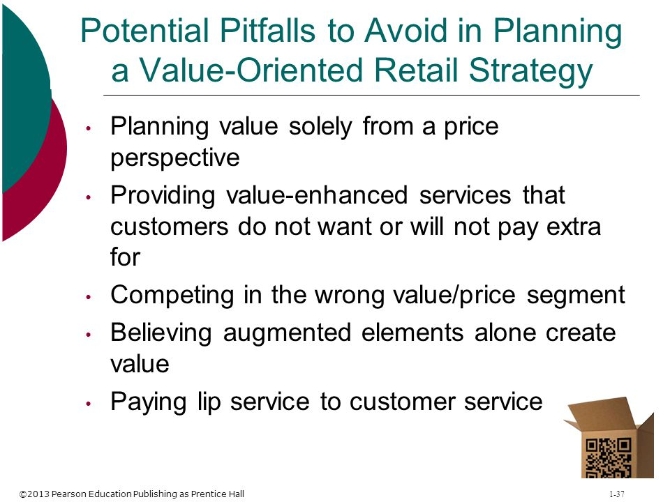 ©2013 Pearson Education Publishing as Prentice Hall 1-37 Potential Pitfalls to Avoid in Planning a Value-Oriented Retail Strategy Planning value solel