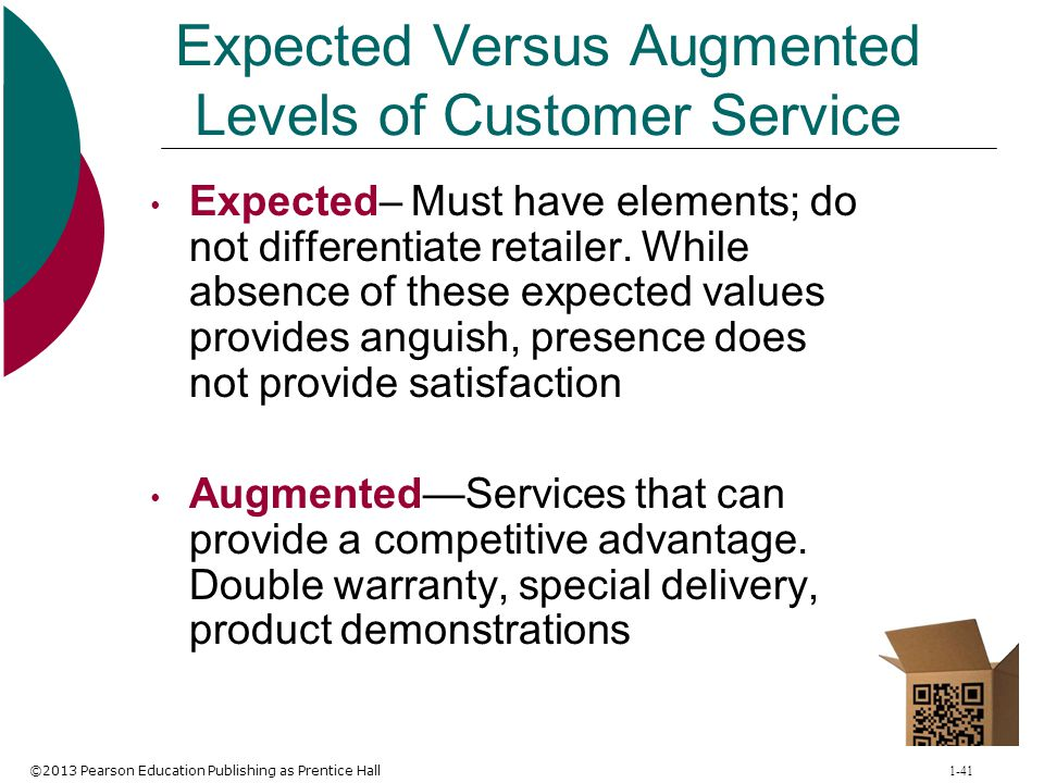 ©2013 Pearson Education Publishing as Prentice Hall 1-41 Expected Versus Augmented Levels of Customer Service Expected– Must have elements; do not dif
