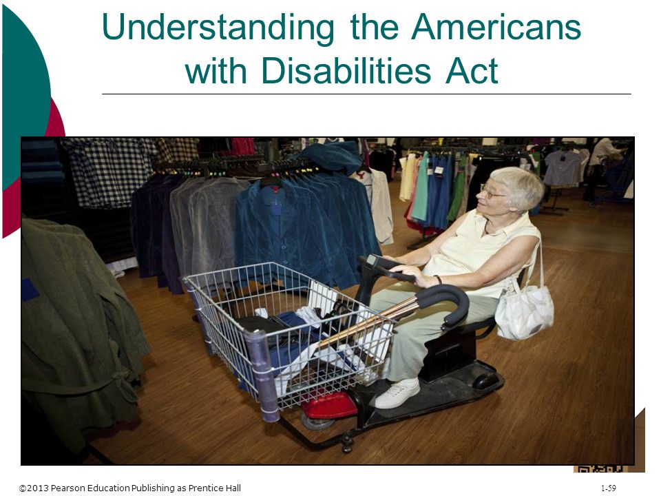 ©2013 Pearson Education Publishing as Prentice Hall 1-59 Understanding the Americans with Disabilities Act