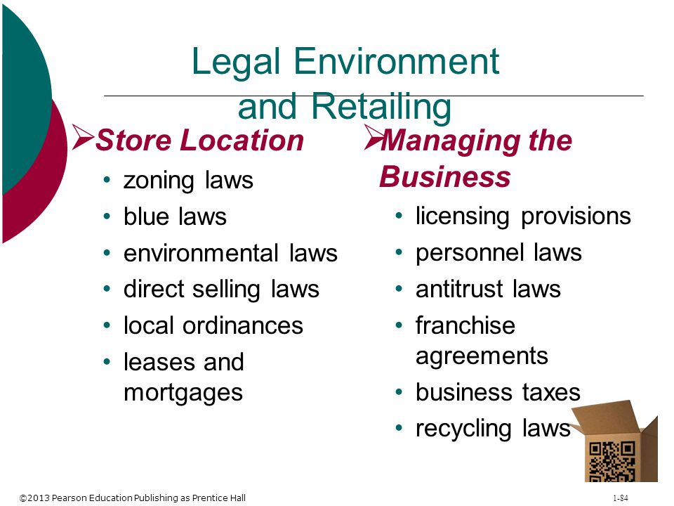 ©2013 Pearson Education Publishing as Prentice Hall 1-84 Legal Environment and Retailing  Store Location zoning laws blue laws environmental laws dir