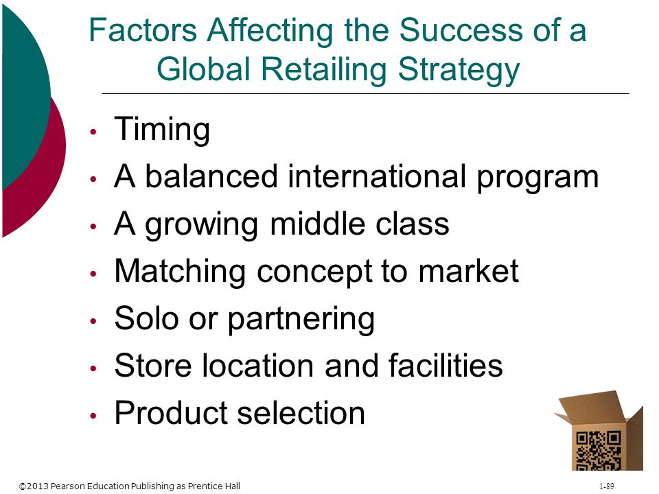 ©2013 Pearson Education Publishing as Prentice Hall 1-89 Factors Affecting the Success of a Global Retailing Strategy Timing A balanced international