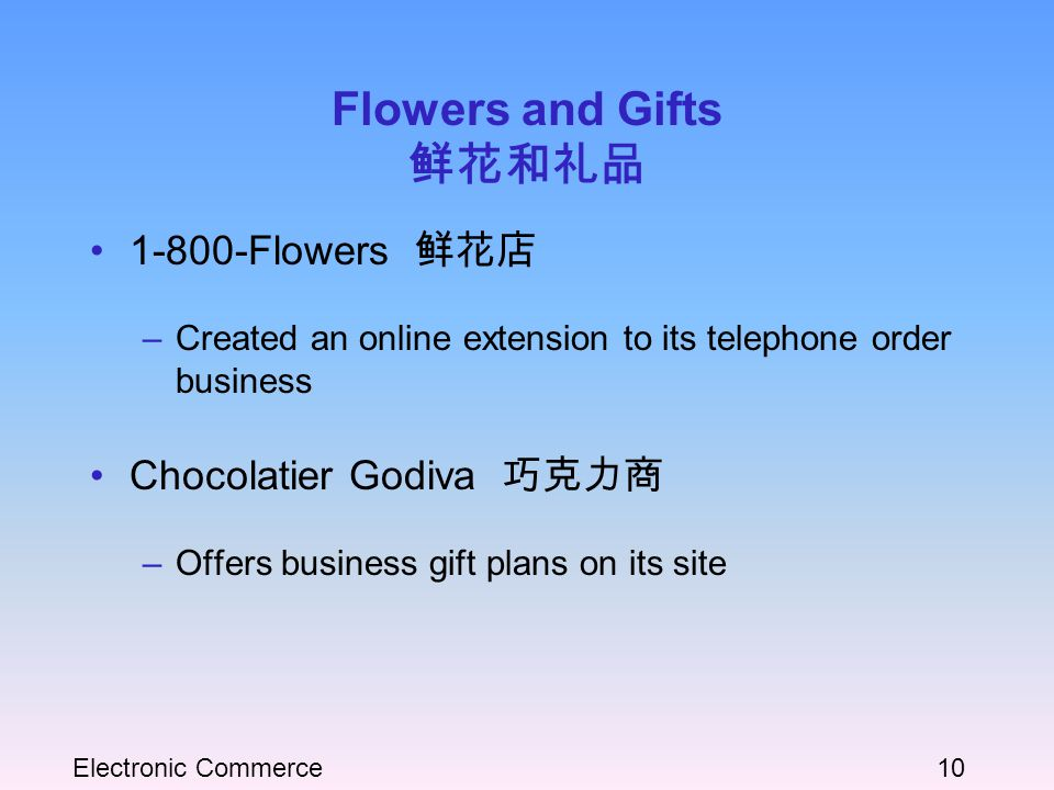Electronic Commerce10 Flowers and Gifts 鲜花和礼品 1-800-Flowers 鲜花店 –Created an online extension to its telephone order business Chocolatier Godiva 巧克力商 –Offers business gift plans on its site