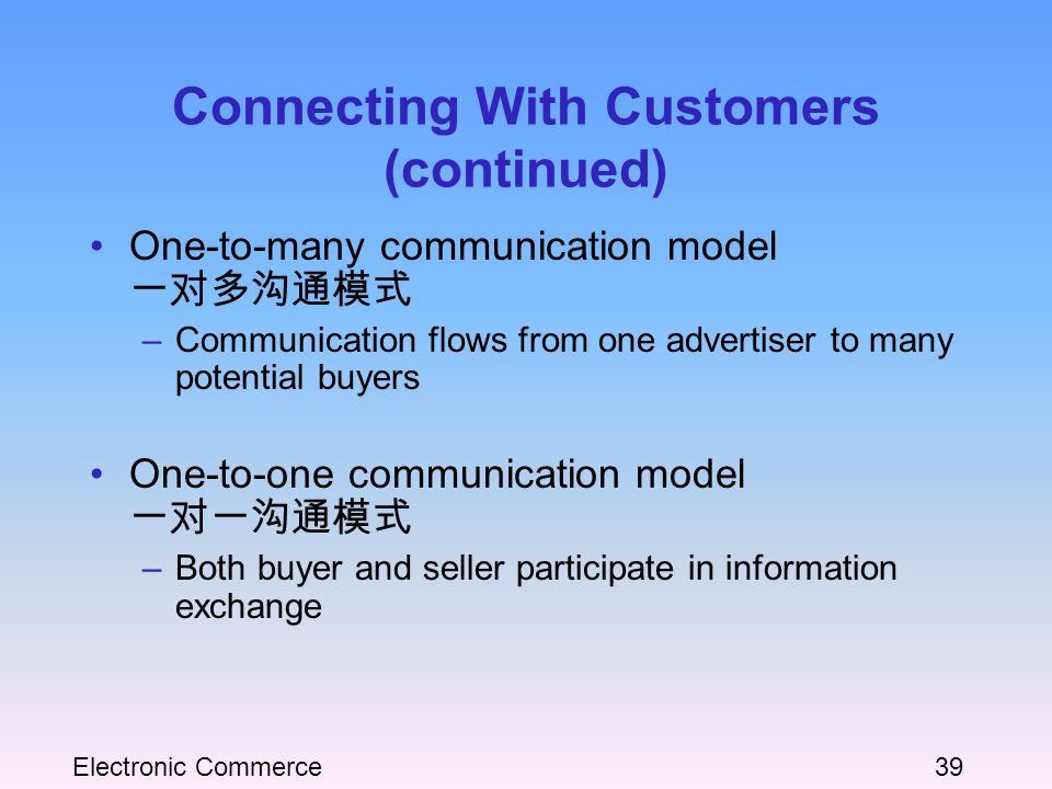 Electronic Commerce39 Connecting With Customers (continued) One-to-many communication model 一对多沟通模式 –Communication flows from one advertiser to many potential buyers One-to-one communication model 一对一沟通模式 –Both buyer and seller participate in information exchange
