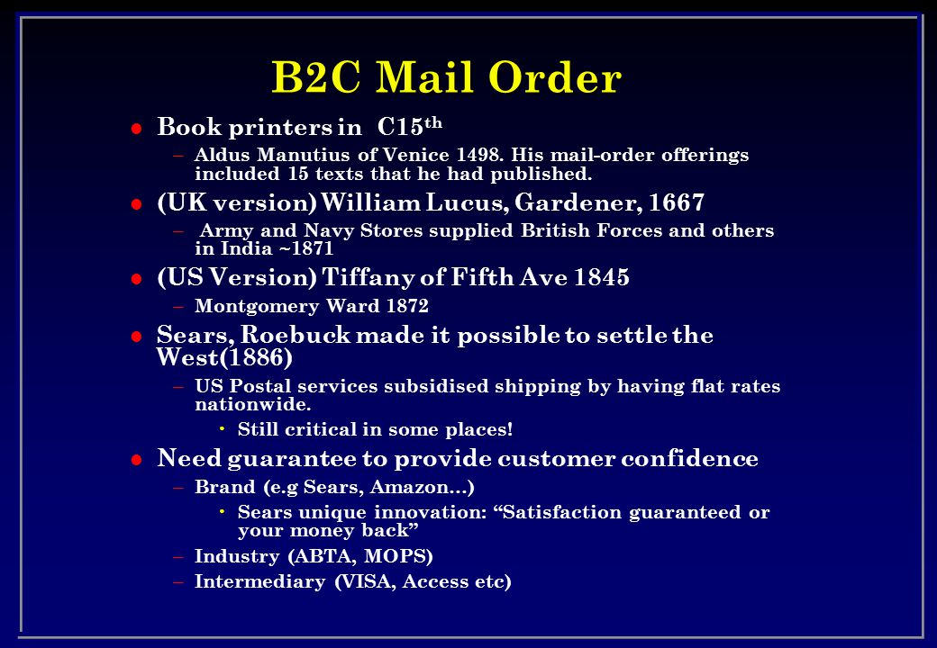 B2C Mail Order l Book printers in C15 th – Aldus Manutius of Venice 1498.