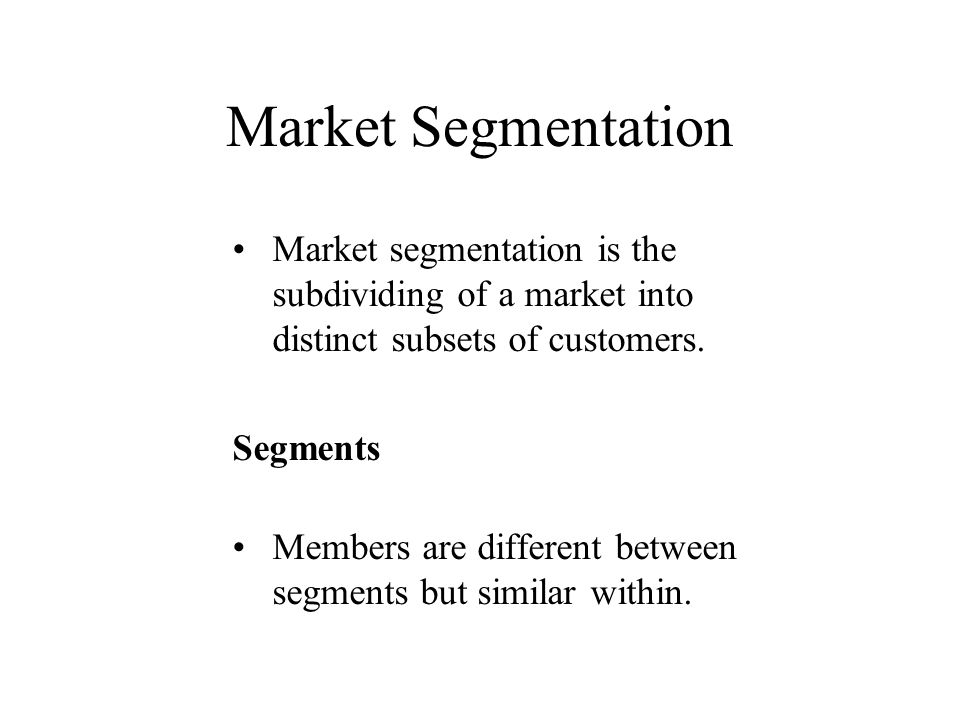 Segmentation Marketing Definition Differentiating your product and marketing efforts to meet the needs of different segments, that is, applying the marketing concept to market segmentation.