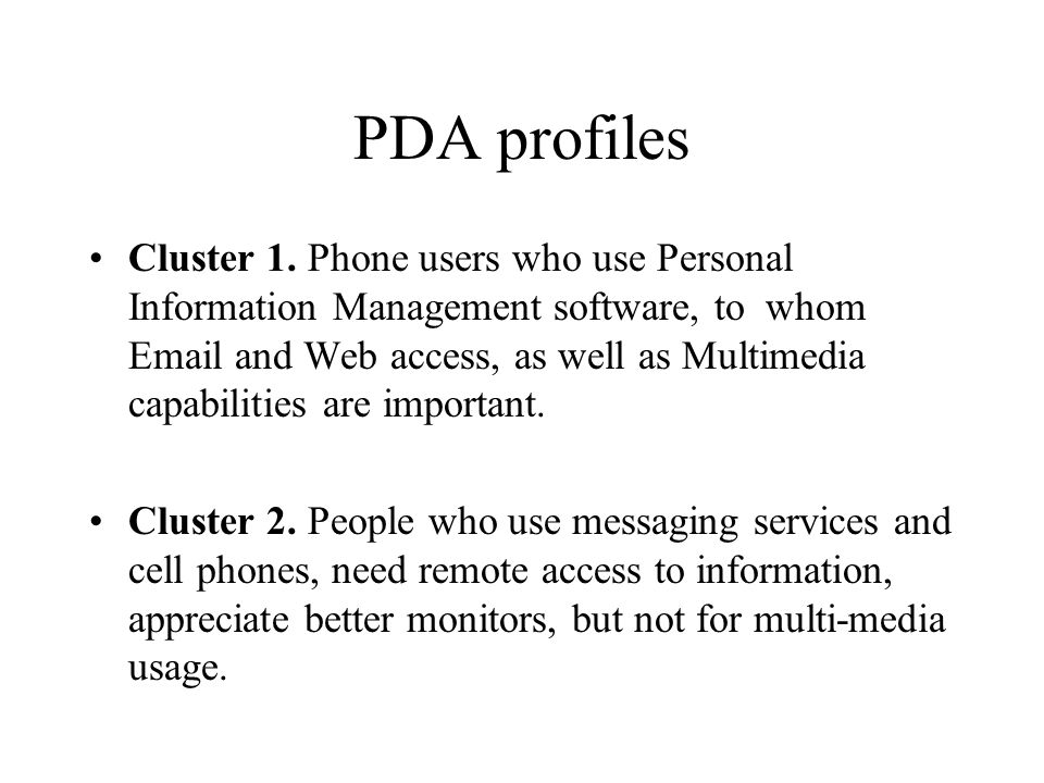 PDA profiles Cluster 1.