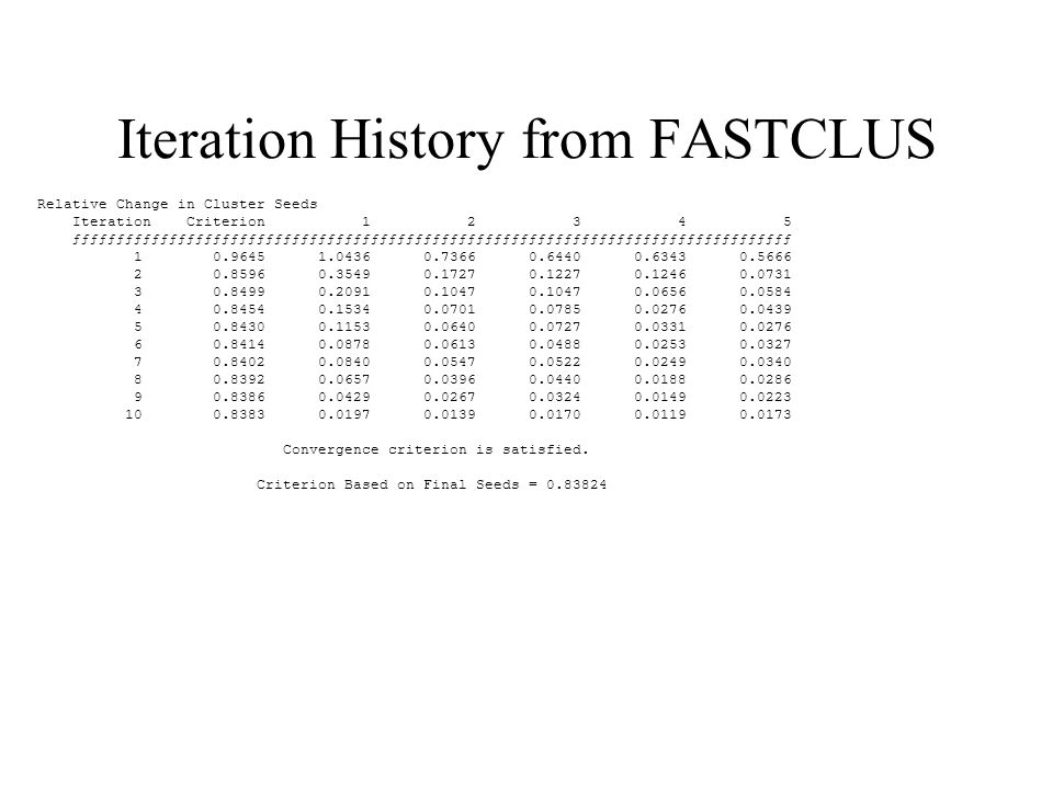 Iteration History from FASTCLUS Relative Change in Cluster Seeds Iteration Criterion 1 2 3 4 5 ƒƒƒƒƒƒƒƒƒƒƒƒƒƒƒƒƒƒƒƒƒƒƒƒƒƒƒƒƒƒƒƒƒƒƒƒƒƒƒƒƒƒƒƒƒƒƒƒƒƒƒƒƒƒƒƒƒƒƒƒƒƒƒƒƒƒƒƒƒƒƒƒƒƒƒƒƒƒƒƒƒƒ 1 0.9645 1.0436 0.7366 0.6440 0.6343 0.5666 2 0.8596 0.3549 0.1727 0.1227 0.1246 0.0731 3 0.8499 0.2091 0.1047 0.1047 0.0656 0.0584 4 0.8454 0.1534 0.0701 0.0785 0.0276 0.0439 5 0.8430 0.1153 0.0640 0.0727 0.0331 0.0276 6 0.8414 0.0878 0.0613 0.0488 0.0253 0.0327 7 0.8402 0.0840 0.0547 0.0522 0.0249 0.0340 8 0.8392 0.0657 0.0396 0.0440 0.0188 0.0286 9 0.8386 0.0429 0.0267 0.0324 0.0149 0.0223 10 0.8383 0.0197 0.0139 0.0170 0.0119 0.0173 Convergence criterion is satisfied.
